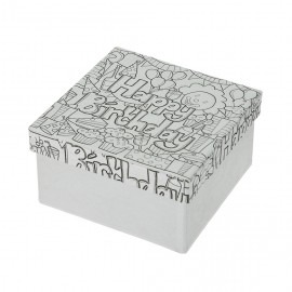 Doodle Art Happy Birthday, Box quadrat, 10x10x5cm