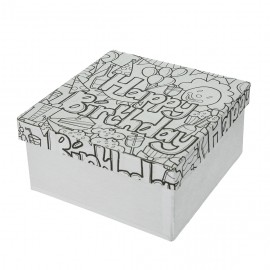Doodle Art Happy Birthday, Box quadrat, 14x14x7cm
