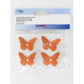 Schmetterling mit Clip, orange, 4Stk.