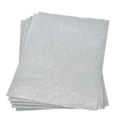 Moosgummiplatte Glitter, silber, 1Stk.