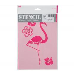 Schablone A4, Flamingo und Blumen