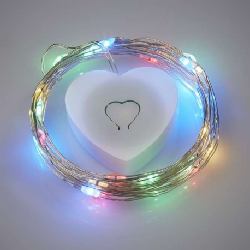 LED-Leuchtdraht, 20 Lampen, buntes Licht, 2m