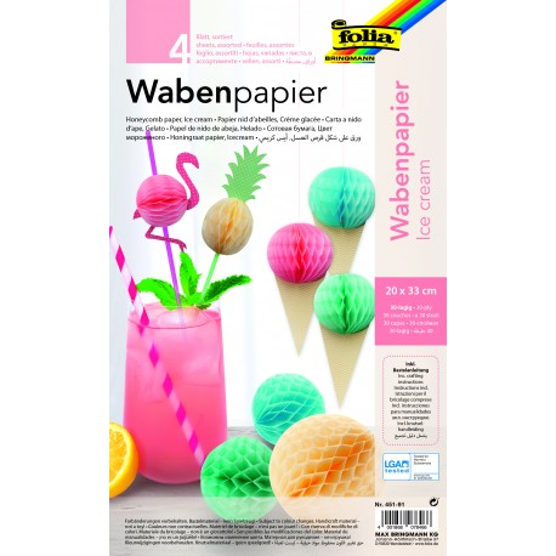Wabenpapier ICE CREAM, 20x33cm