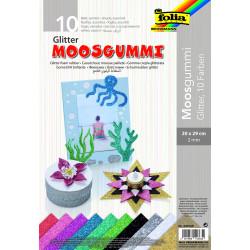 Glitter-Moosgummi, 10 Farben