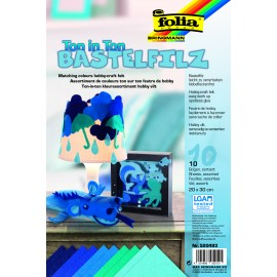 Bastelfilz, Ton in Ton, 10 Bogen, blau