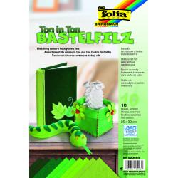 Bastelfilz, Ton in Ton, 10 Bogen, grün