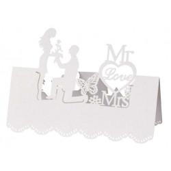 Tischkarte Mr. & Mrs. I, 12,5x11cm, 5 St. weiss