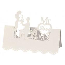 Tischkarte Mr. & Mrs. I, 12,5x11cm, 5 St. creme