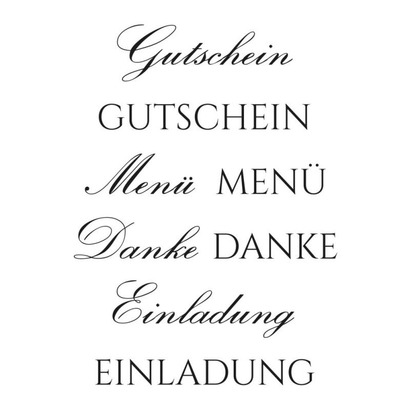 Stempel-Set, A7, Gutschein, 8-teilig