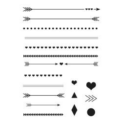Stempel-Set, A7,  Pfeile und Linien, 18-teilig