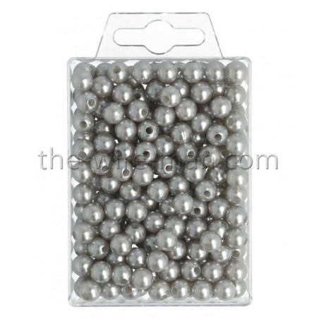 Perlen, 8mm, 250Stk., silber