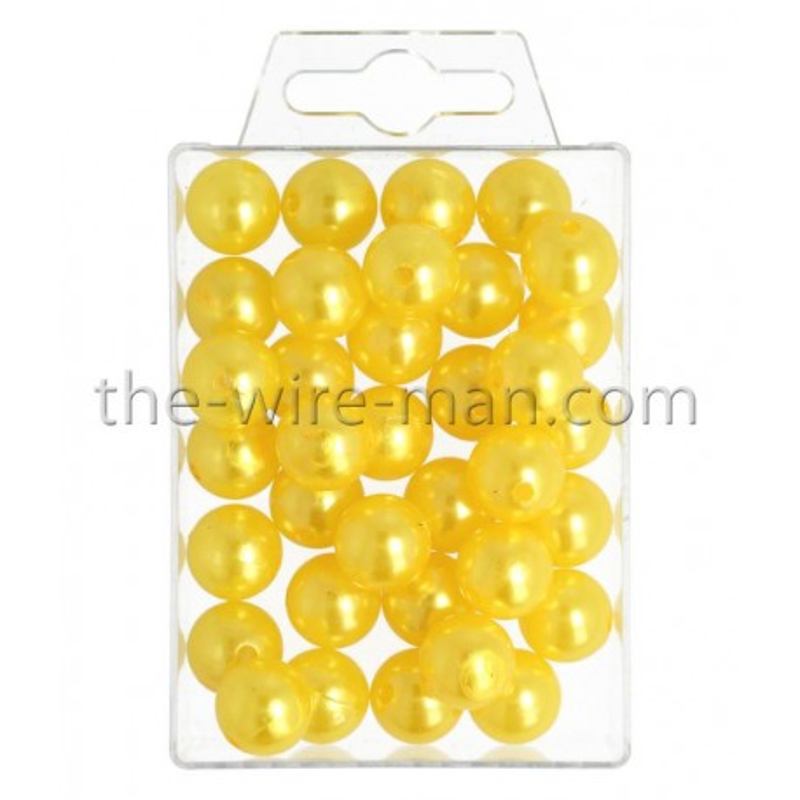 Perlen, 14mm, 35Stk., gelb