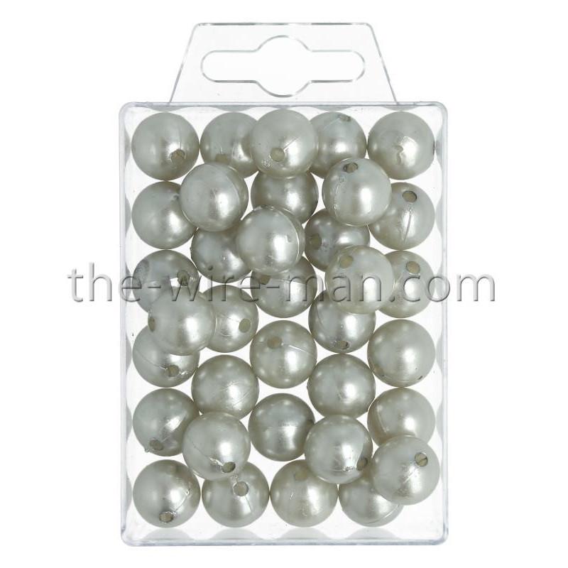 Perlen, 14mm, 35Stk., silber