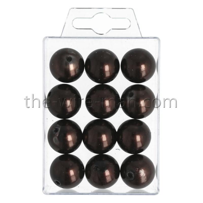 Perlen, 20mm, 12Stk., brandy