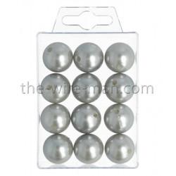 Perlen, 20mm, 12Stk., silber