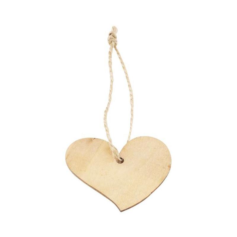 Holz-Anhänger Herz, ca.4.5cm, 8Stk.
