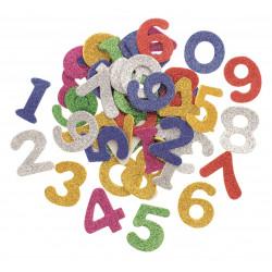 Moosgummi-Set Zahlen, glitzer, 4cm, ca. 50Stk.