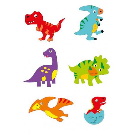 Moosgummi-Sticker, Dino, 12Stk.