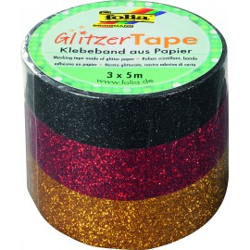 Glitzer-Tape, 3er-Set, schwarz/rot/gold