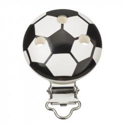 Kettenclip, Fussball, weiss-schwarz