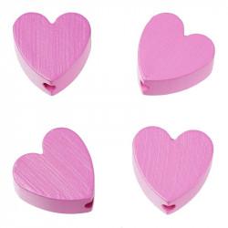 Motivperlen, Herzen, 4Stk., pink