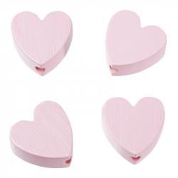Motivperlen, Herzen, 4Stk., rosa