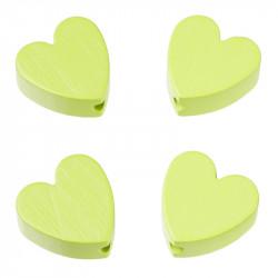Motivperlen, Herzen, 4Stk., lemon