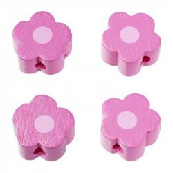 Motivperle, Blümchen, 4Stk., pink