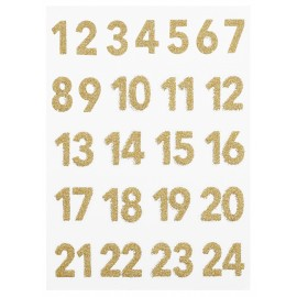 Glitzer-Sticker, Advent 1-24, gold