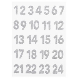 Glitzer-Sticker, Advent 1-24, silber