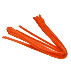 Pfeifenputzer, orange, 8mm x 50cm, 10Stk