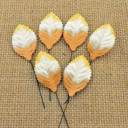 Blätter, braun-weiss-orange, 35mm, 100Stk.