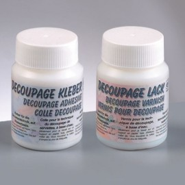Decoupage-Set, 1x Kleber 100ml, 1x Lack 100ml