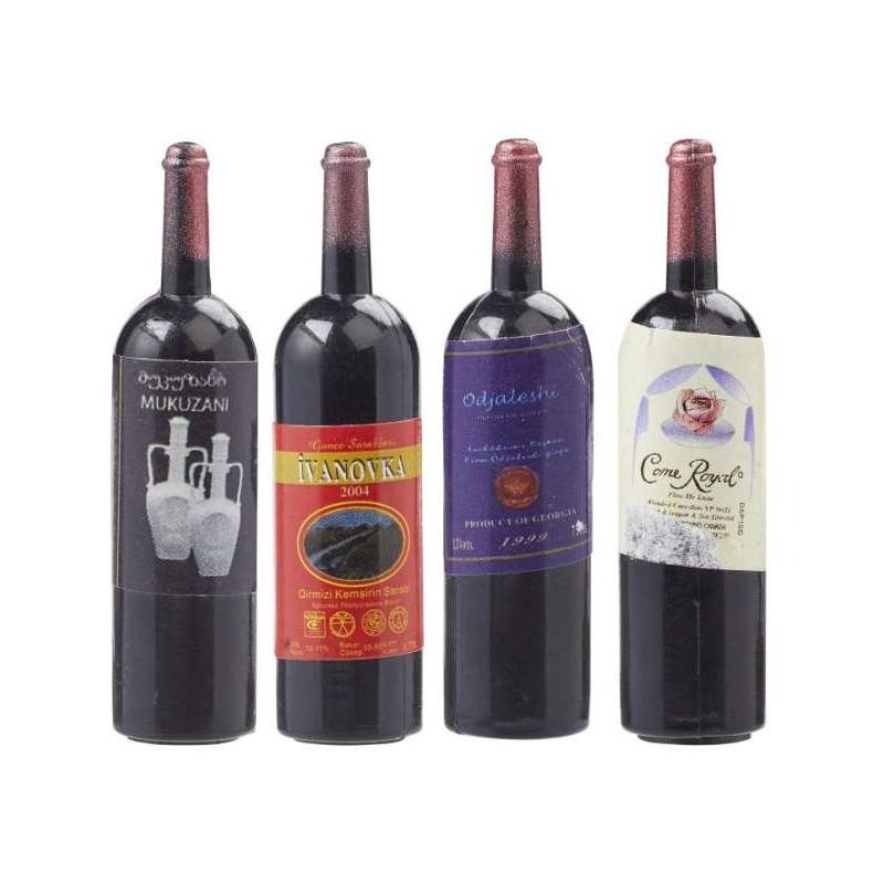 Wein-Flasche, 4,5cm, 4 Stk. sortiert