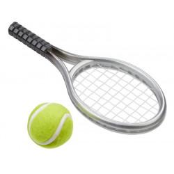 Tennisschläger m. Ball, 3,5x9cm, silber