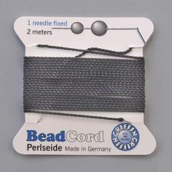 Perlenaufreihfaden  0.50mm / Nadel, schwarz, 2m