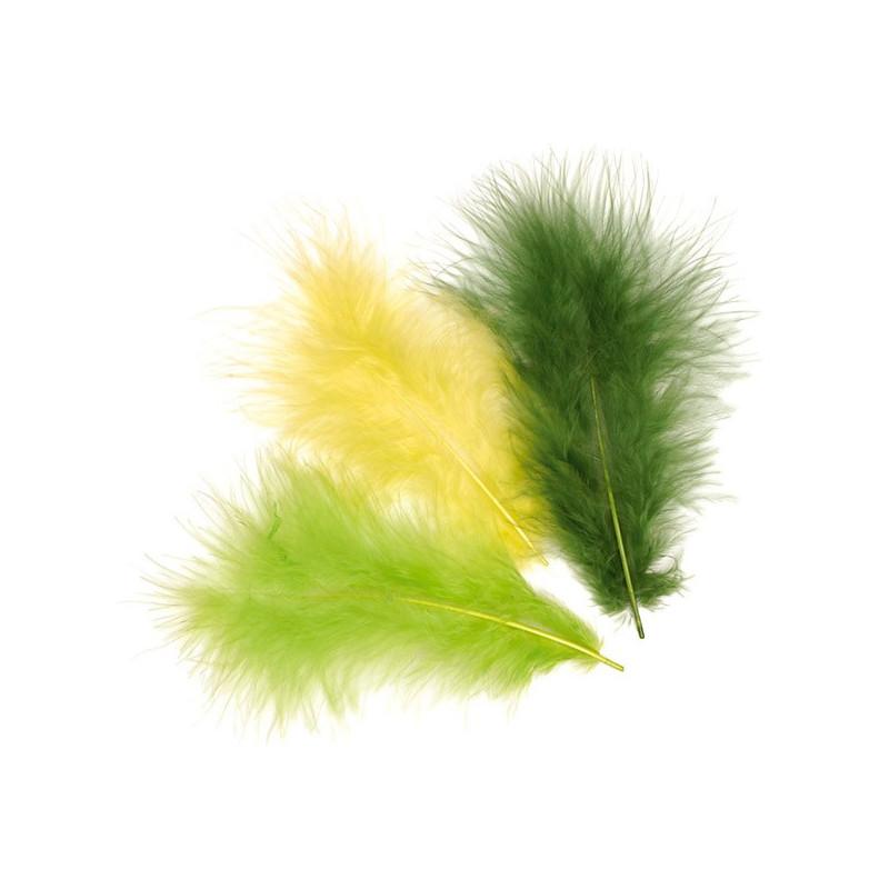 Marabufedern-Mix hellgrün, Länge: ca.10cm, 15Stk.