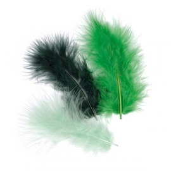 Marabufedern-Mix dunkelgrün, Länge: ca.10cm, 15Stk.