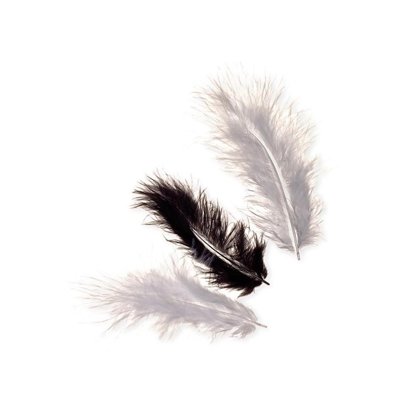 Marabufedern-Mix schwarz, Länge: ca.10cm, 15Stk.