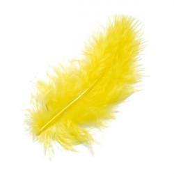 Marabufedern gelb, Länge: ca. 10cm, 15Stk.