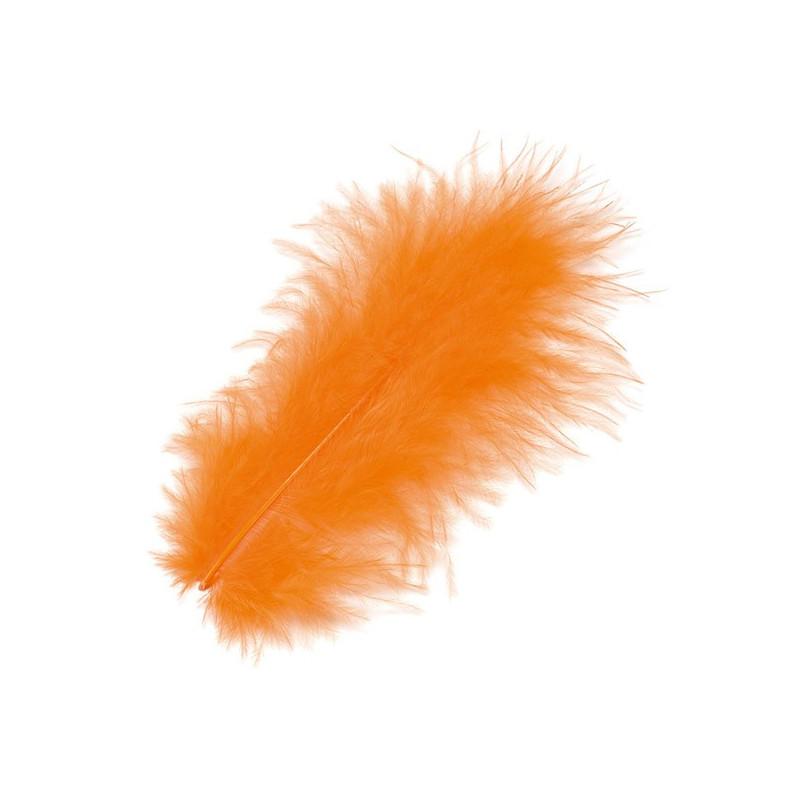 Marabufedern orange, Länge: ca. 10cm, 15Stk.