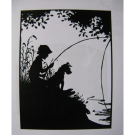 "Clearstamp Gone Fishing with my Dog"", 62x48mm"