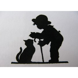 "Clearstamp ""Boy with Cat"", 32x37mm"